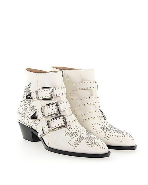 Chloé Ankle boots SUSANNA calfskin nappa leather Rivets silver jiLTMSt
