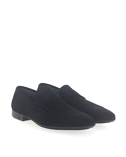 Moreschi - Penny Loafer 042173 Calfskin Suede Black for Men - Lyst