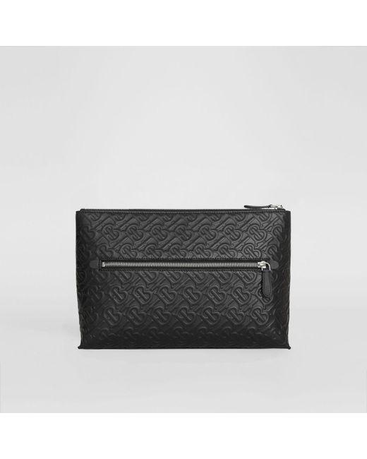 Pochette zippée en cuir Monogram Burberry pour homme en coloris Black