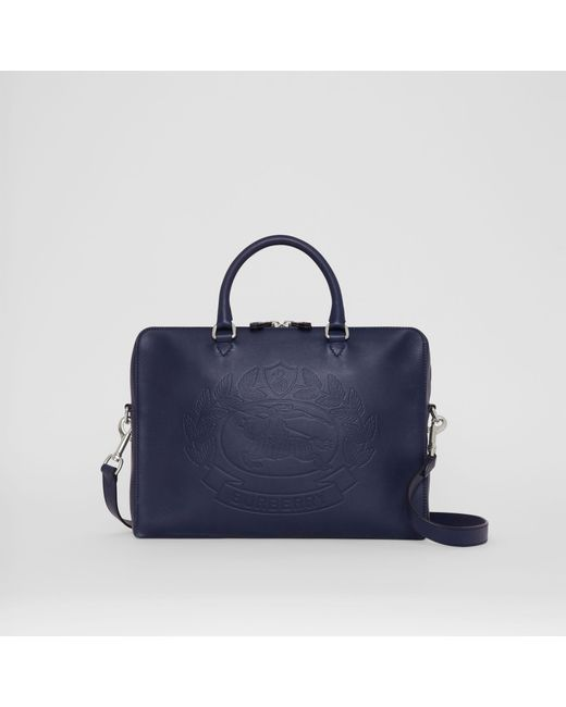 Burberry - Blue Embossed Crest Leather Briefcase for Men - Lyst