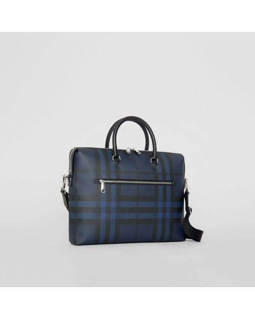 0aab19d10987 ... Burberry - Blue Checked Textured-leather Briefcase for Men - Lyst ...