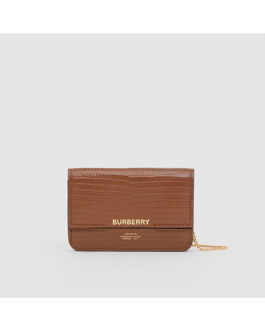 Burberry Brown Embossed Deerskin Card Case With Chain Strap