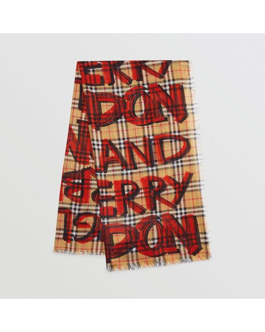Burberry - Red Graffiti Print Check Wool Silk Large Square Scarf - Lyst