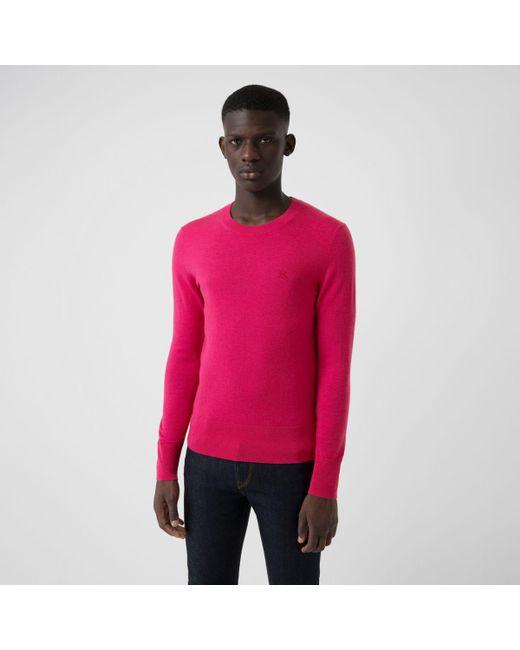 Pull à col ras du cou en cachemire Burberry pour homme en coloris Pink