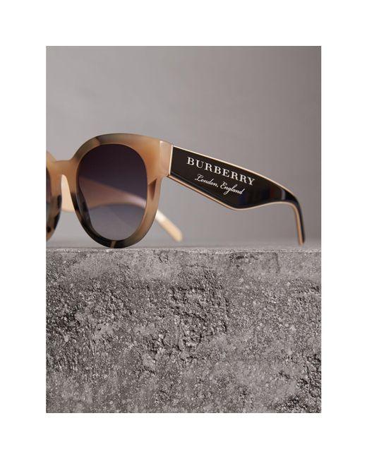 8e37008a03a ... Burberry - Multicolor Round Frame Sunglasses - Lyst ...