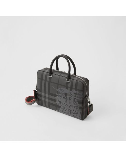 cd3435a22e07 ... Burberry - Black Ekd London Check And Leather Briefcase for Men - Lyst  ...