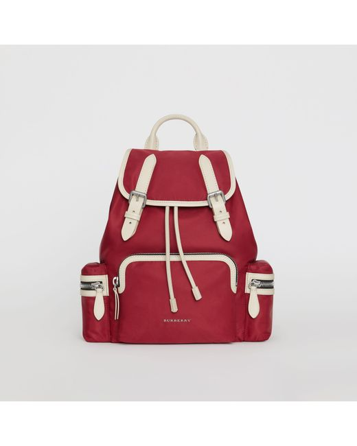 e156ead16a6c Burberry - Red The Medium Rucksack In Technical Nylon And Leather - Lyst ...