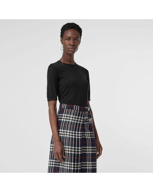 97ef8a3db368da Burberry - Black Short-sleeve Silk Cashmere Sweater - Lyst ...