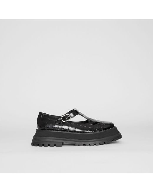 be10a58d5fd ... Burberry - Black Embossed Leather T-bar Shoes - Lyst ...