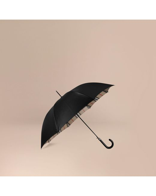 Burberry | Black Oversize-check Lined Walking Umbrella | Lyst