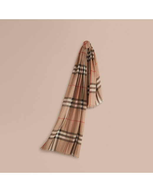 Burberry | Natural Lightweight Check Wool And Silk Scarf Camel for Men | Lyst