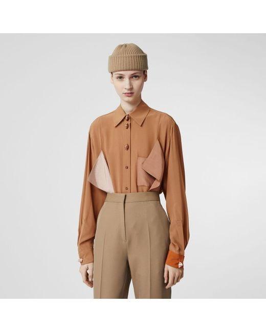 Burberry Brown Drape Detail Silk Oversized Shirt