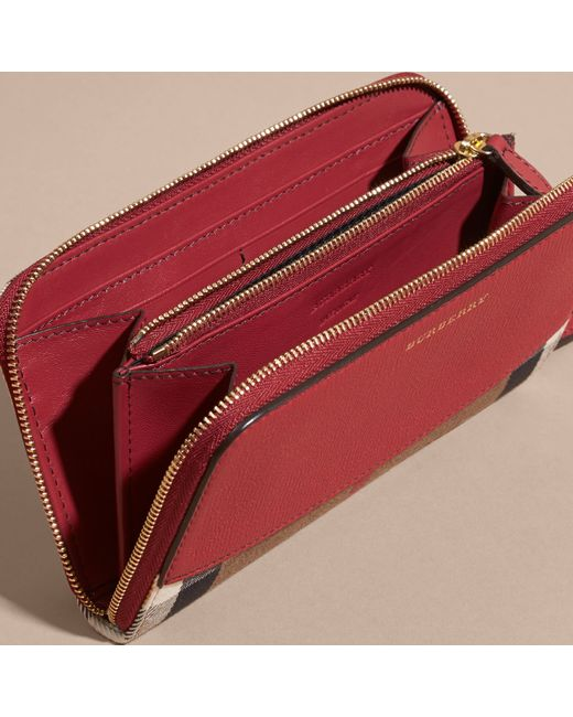 23dcd591a9d2 Burberry House Check And Leather Ziparound Wallet Military Red in Brown - Save  6%