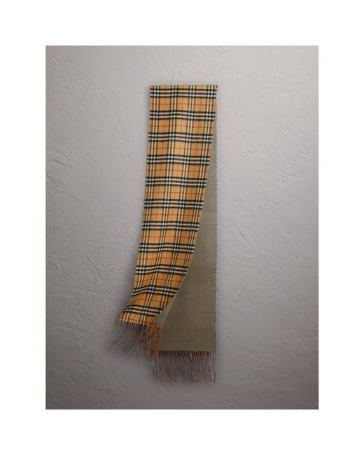 Burberry | Reversible Vintage Check Cashmere Scarf In Chalk Green | | Lyst