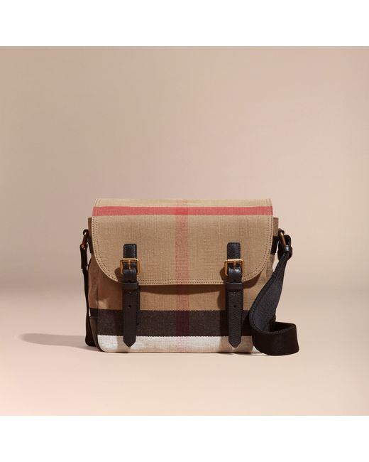 Burberry Leather Trim Canvas Check Messenger Bag In Brown