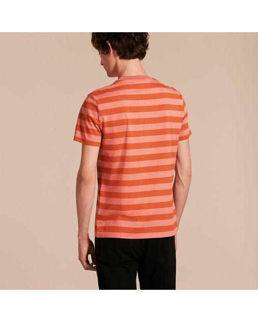 Burberry Striped Cotton T Shirt Orange Rose Pink For Men