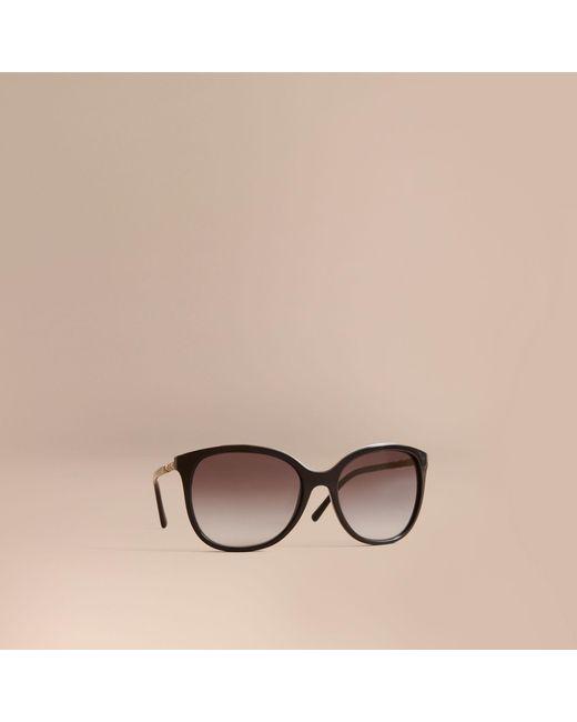 Burberry | Check Detail Square Frame Sunglasses Black | Lyst