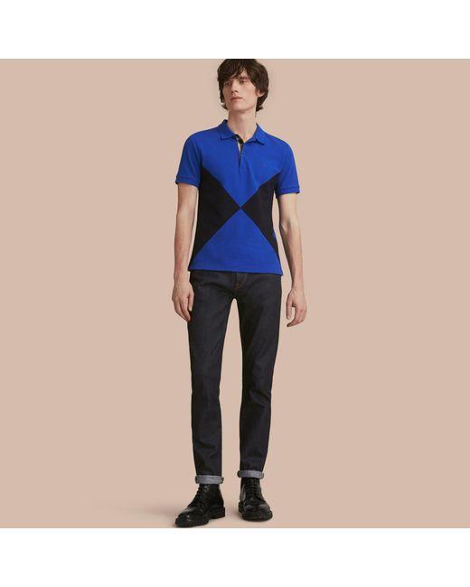 Burberry geometric motif cotton piqu polo shirt with for Cobalt blue polo shirt