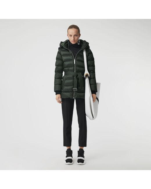 Burberry - Green Down-filled Hooded Puffer Coat - Lyst