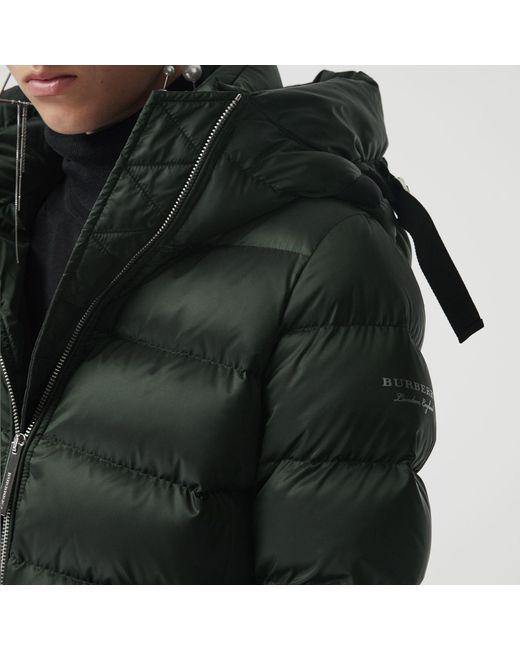 74584dfedb1bc ... Burberry - Green Down-filled Hooded Puffer Coat - Lyst ...