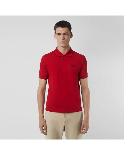 f95a3581db0bb9 Burberry - Red Tipped Cotton Piqué Polo Shirt for Men - Lyst ...