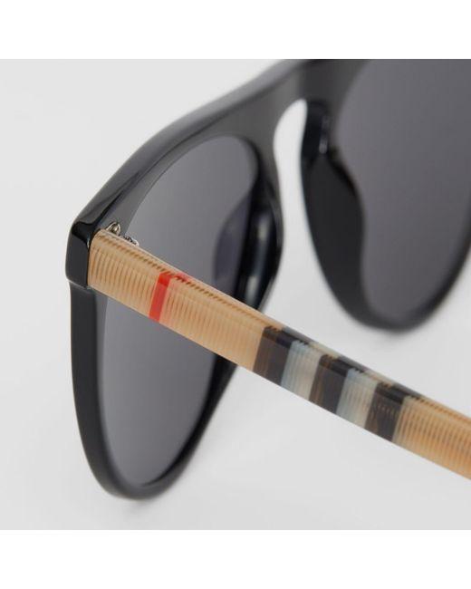 8559e826b9d ... Burberry - Black Vintage Check Detail Keyhole D-shaped Sunglasses for  Men - Lyst ...