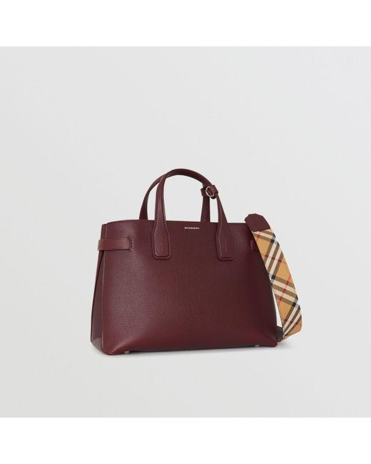 217c2357da8e Burberry - Red The Medium Banner In Leather And Vintage Check - Lyst ...