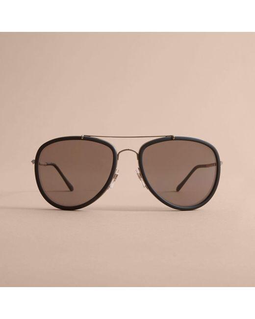 ... Burberry - Black Lunettes de soleil aviateur avec motif check for Men -  Lyst ... 7a5979e0a143