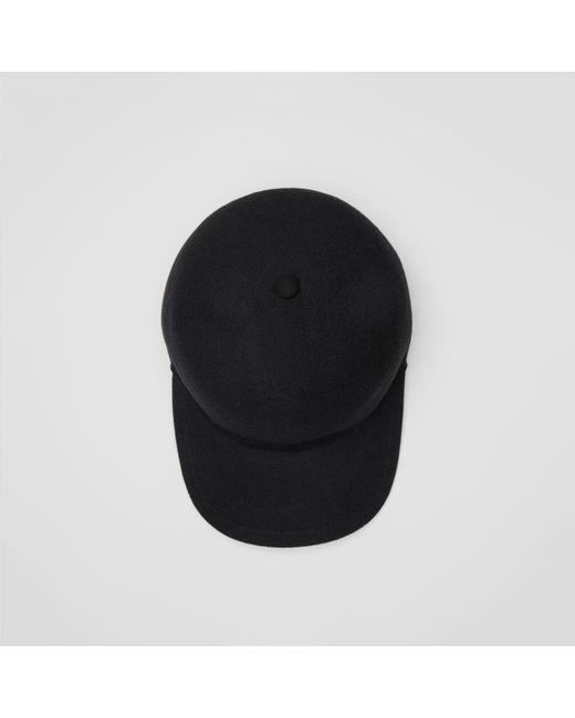 5feb0441c56 Burberry - Black Felted Wool Baseball Cap for Men - Lyst ...