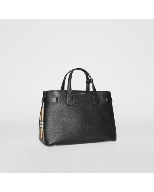 1260b06cf87 Burberry - Black The Medium Banner In Leather And Vintage Check - Lyst ...