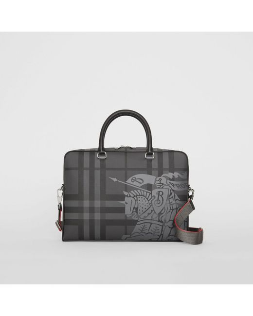 8a6e0a7ec0a8 Burberry - Black Ekd London Check And Leather Briefcase for Men - Lyst ...