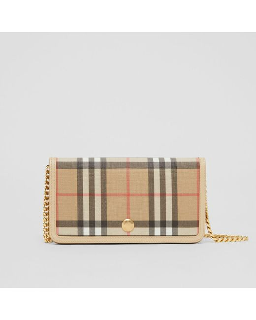 Burberry Natural Vintage Check E-canvas Phone Wallet With Strap