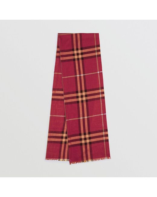 2f97c5897273 Burberry - Red Lightweight Check Wool And Silk Scarf - Lyst ...