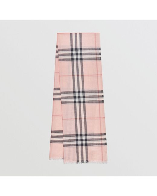 9148328fdb458 Burberry Gray Lightweight Check Wool And Silk Scarf Ash Rose for men ...