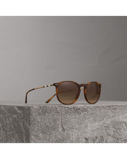 Burberry - Check Detail Round Frame Sunglasses In Light Brown   - Lyst