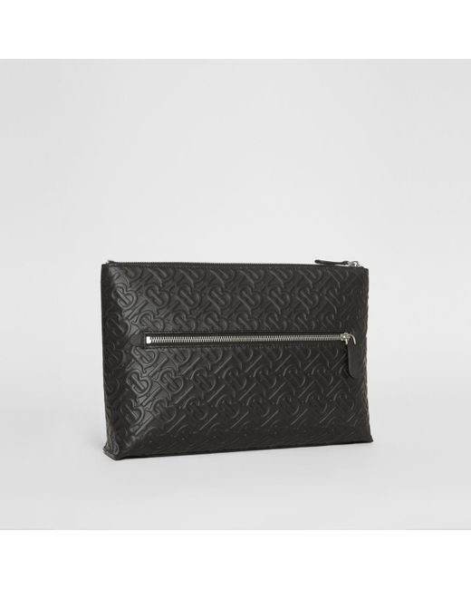Monogram Leather Zip Pouch Burberry pour homme en coloris Black