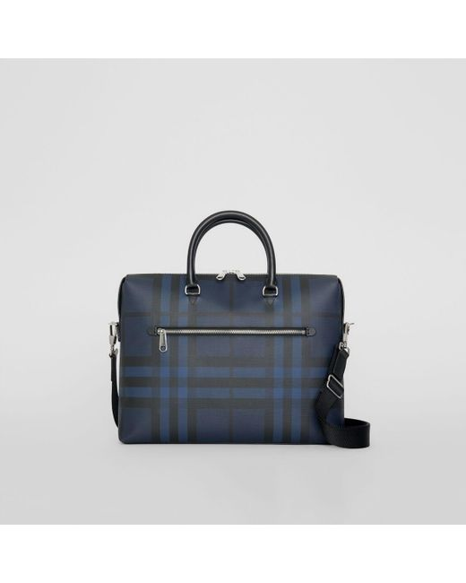 d608fd96344a Lyst - Burberry Checked Textured-leather Briefcase in Blue for Men ...