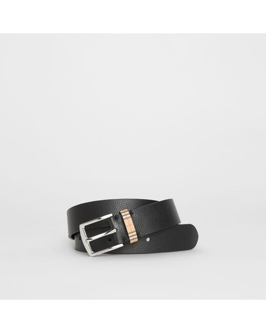 Burberry - Black Check Detail Grainy Leather Belt for Men - Lyst