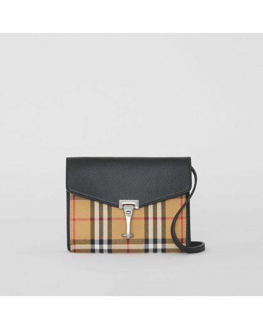 Burberry Black Baby Macken Checked Leather Bag