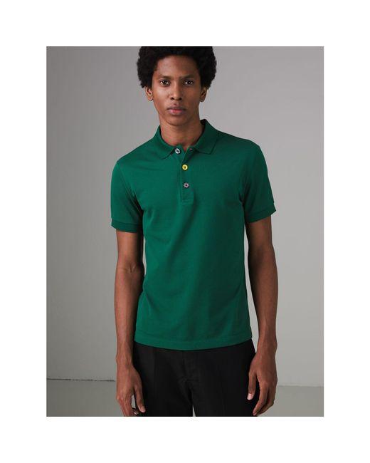 Burberry - Green Painted Button Cotton Piqué Polo Shirt for Men - Lyst