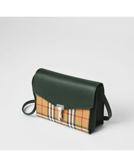 e8e4819d4137 ... Burberry - Green Small Vintage Check And Leather Crossbody Bag - Lyst  ...