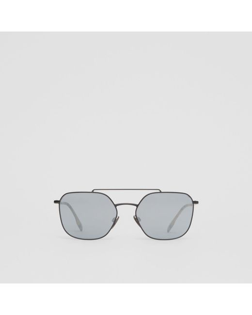 4e25afd0487e Burberry - Multicolor Top Bar Detail Square Pilot Sunglasses for Men - Lyst  ...