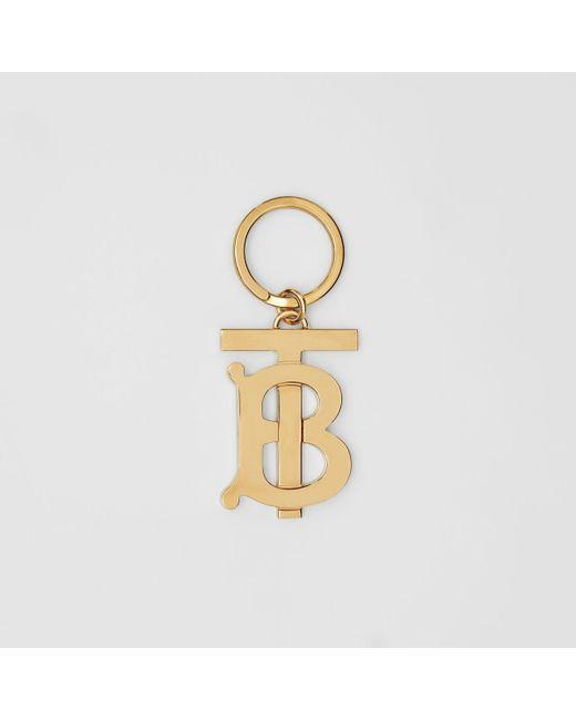 Burberry Vergoldeter Schlüsselanhänger mit Monogrammmotiv in Metallic für Herren
