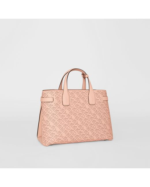 Burberry - Pink The Medium Banner In Perforated Logo Leather - Lyst