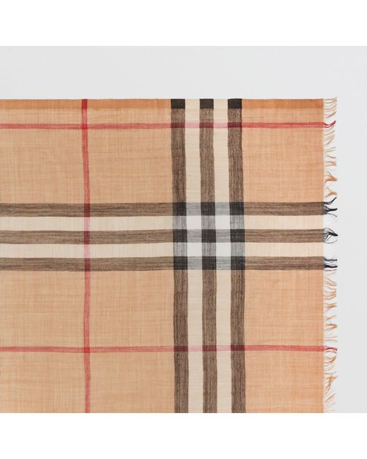 bc541f6b553e ... Burberry - Natural Lightweight Check Wool And Silk Scarf Camel for Men  - Lyst ...