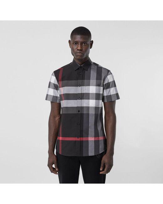 Burberry Gray Short-sleeve Check Stretch Cotton Poplin Shirt for men