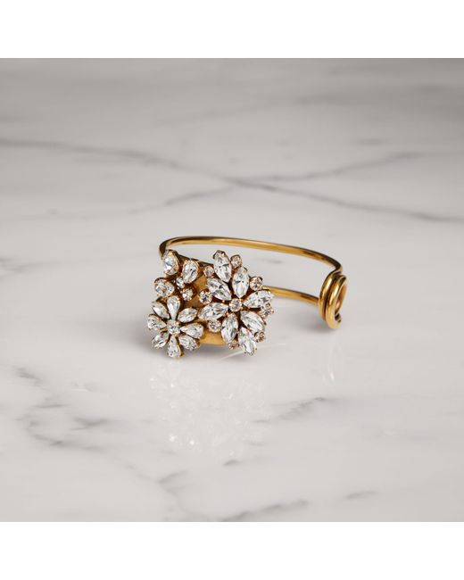 Burberry - Multicolor Crystal Daisy Gold-plated Cuff - Lyst