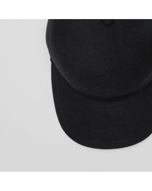 46bda14eaab ... Burberry - Black Felted Wool Baseball Cap for Men - Lyst ...