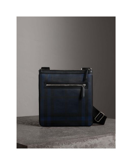 Burberry - Blue Leather Trim London Check Crossbody Bag Navy/black for Men - Lyst