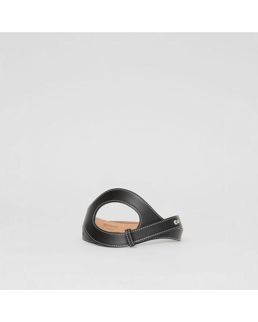 Ceinture en cuir surpiqué avec découpes Burberry en coloris Black